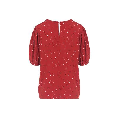 heart pattern shirring detail blouse red